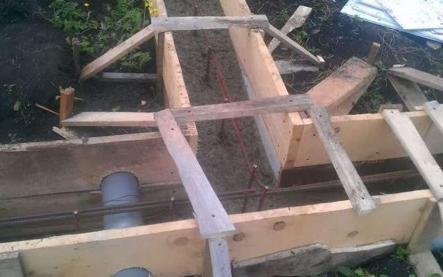 Фундамент для бани из бруса, из сруба, из блоков; фундамент под печь в бане, планировка слива