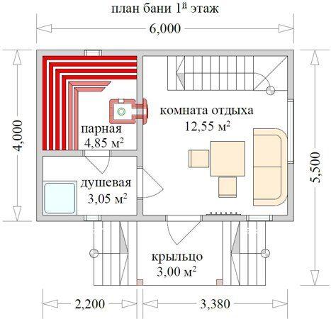 Двухэтажные и одноэтажные бани 6х6 – особенности строительства и материалов