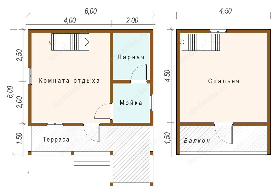 Баня 6х6: выбор материалов для строительства и примеры планировки