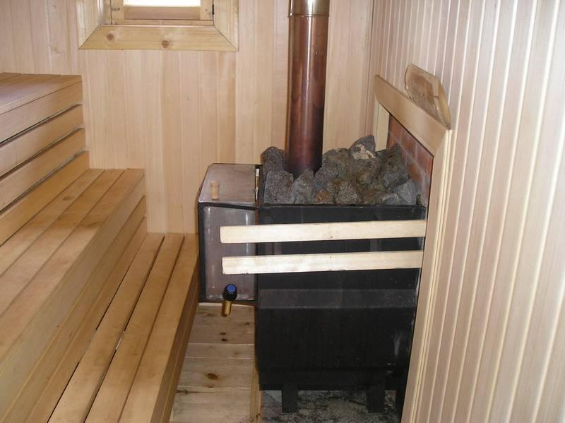 Расположение печки в бане