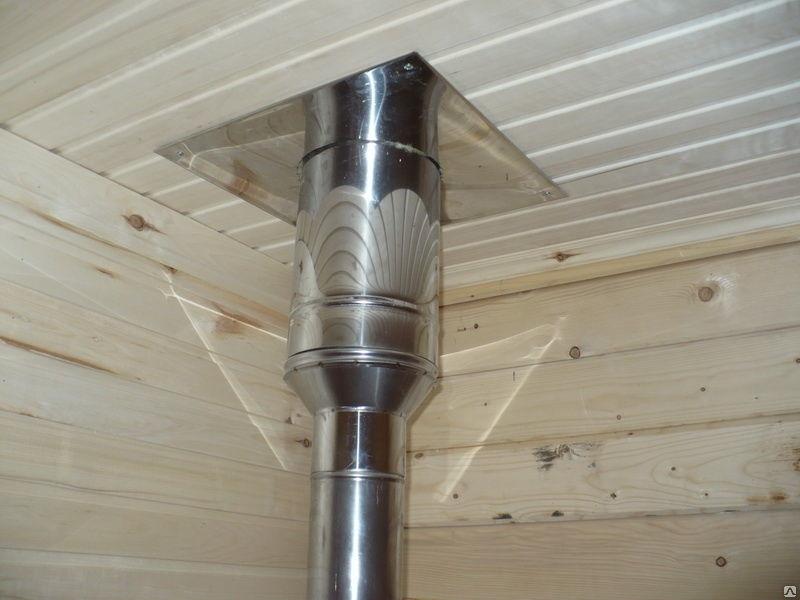 Как правильно установить потолочно-проходной узел для дымохода в бане