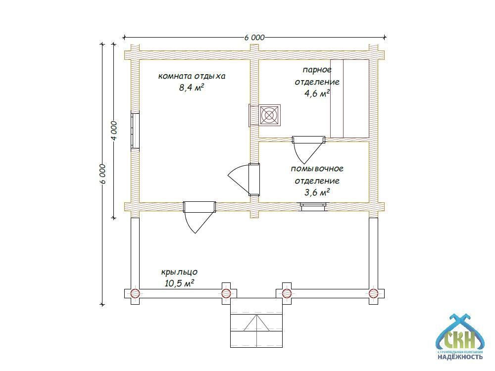 Проекты бань 6 на 8: особенности строительства бани 6х8 из бруса, планировки и фото