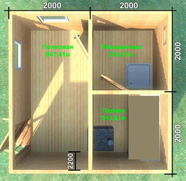 Баня 4 на 4 планировка внутри фото