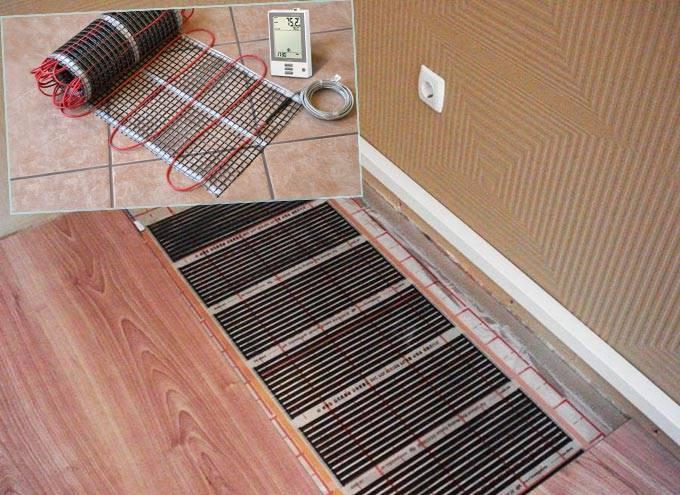 Электрический плёночный тёплый пол в бане