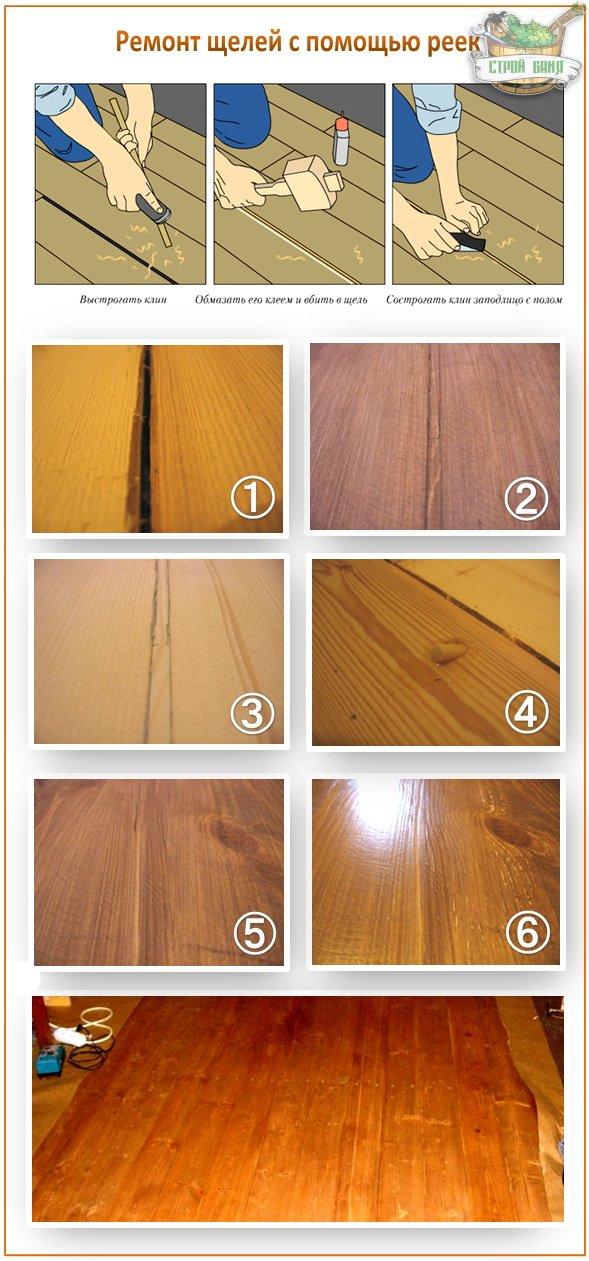 Как заделать щели в полу между досками