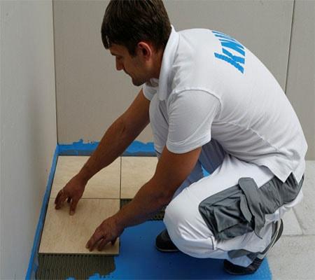Укладка плитки на пол с предварительной укладкой плит гвлв