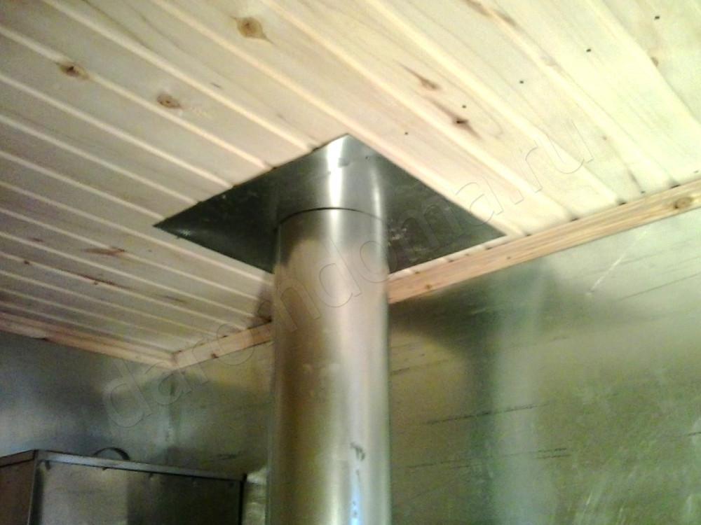 Как проделать проход для трубы в потолке бани своими руками