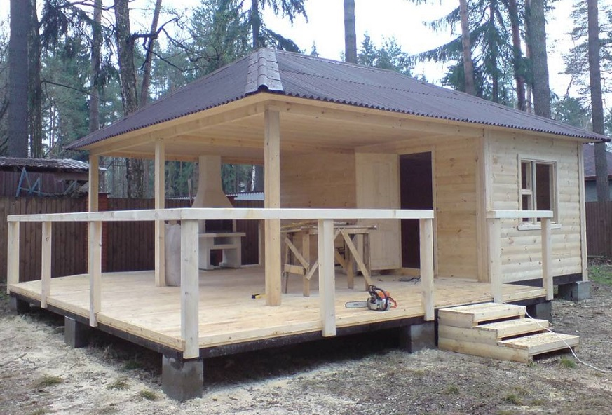 Баня с беседкой: проекты под одной крышей, совмещенная пристройка под общей с барбекю и мангалом, пристроенная из блоков с верандой