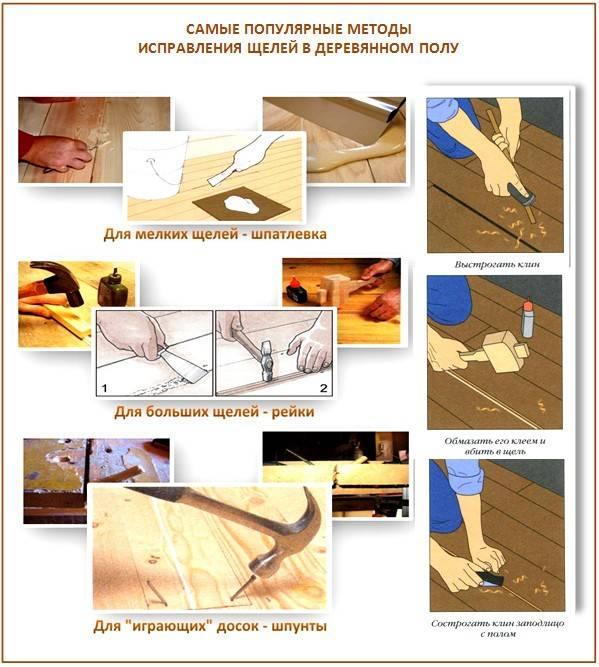 Щели в деревянном полу: проведение ремонтных работ + обзор составов для заделки