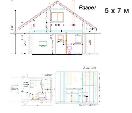 Проекты двухэтажных бань из пеноблоков
