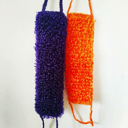 Мочалка спицами, техника вязания мочалок с вытянутыми петлями,  вязание для дома