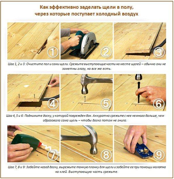 Чем заделать щели в деревянном полу перед покраской