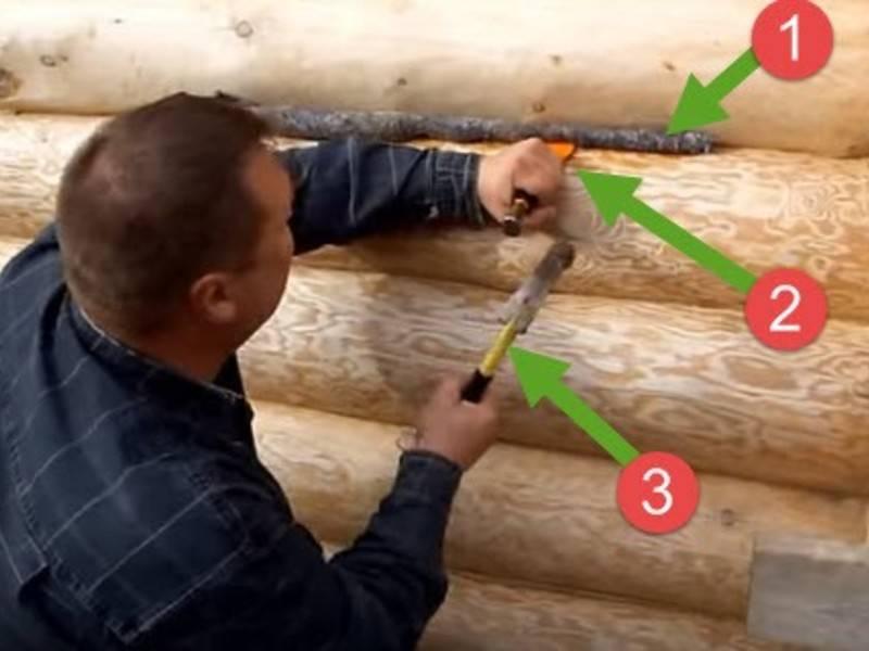 Конопатка швов сруба деревянного дома своими руками