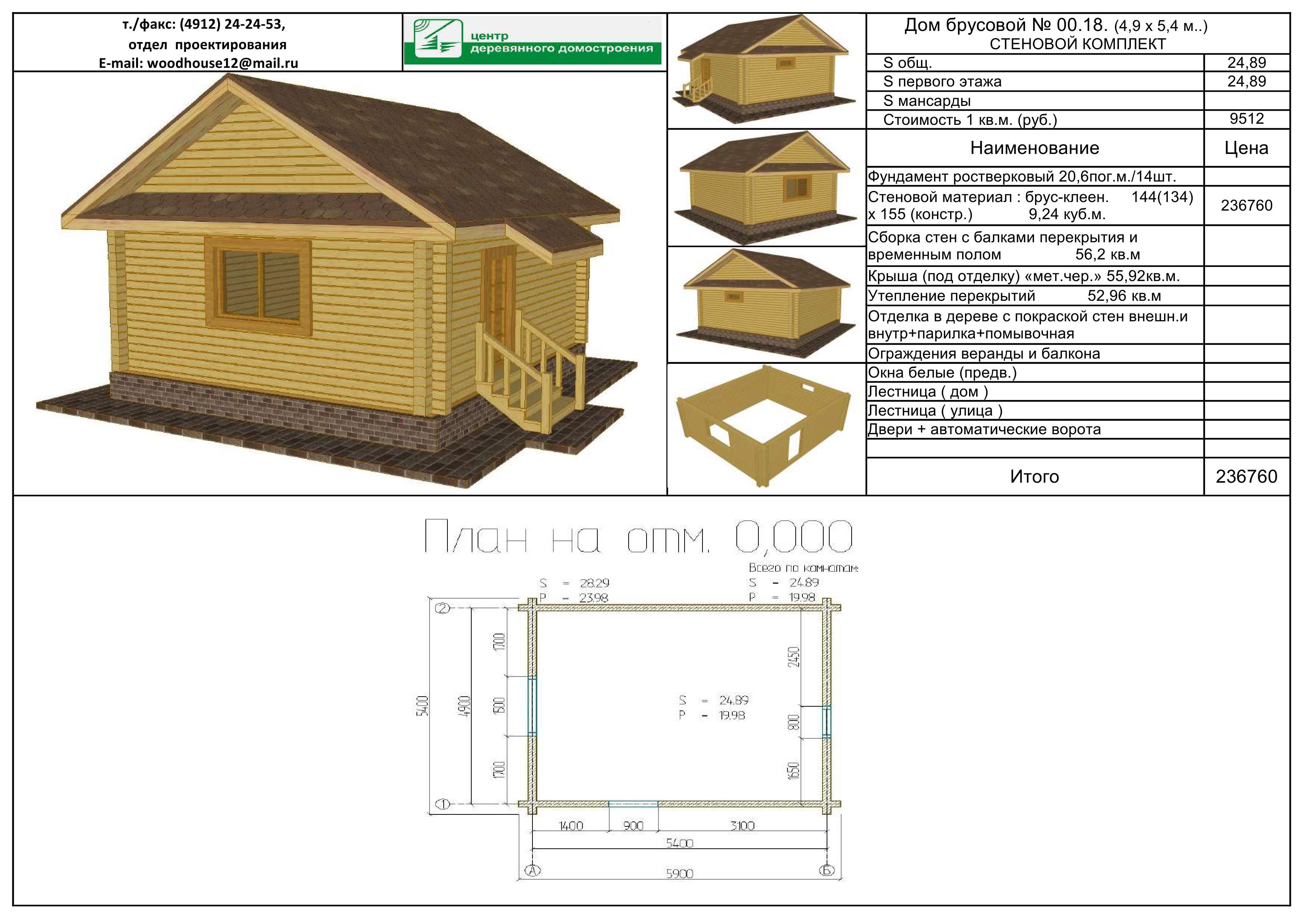 Составление сметы на строительство дома из бруса