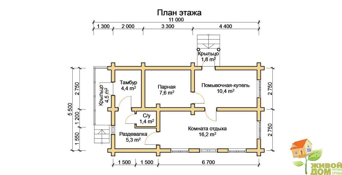 Проект бани с комнатой отдыха: выбор материала, подготовка проекта, оформление интерьера
