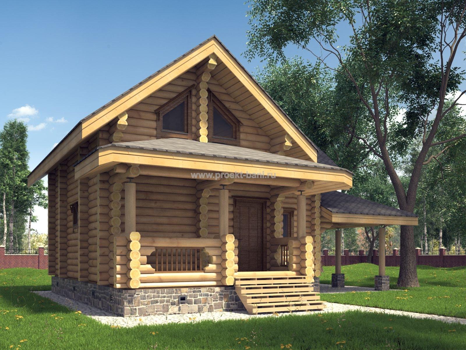 Проекты деревянных бань с мансардой