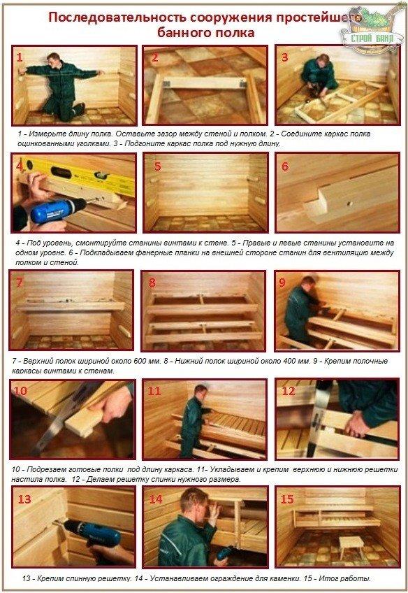 Как обустроить своими руками полки в бане