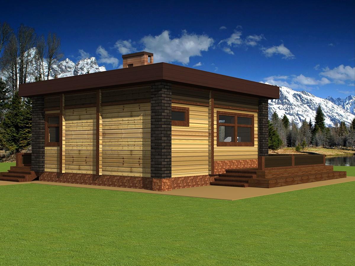 Проекты бани с террасой, барбекю и комнатой отдыха: из бруса и кирпича разного размера (6х4, 6x6) + фото