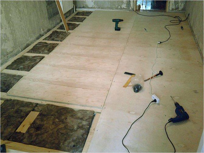 Укладка фанеры на деревянный, бетонный пол или на лаги
