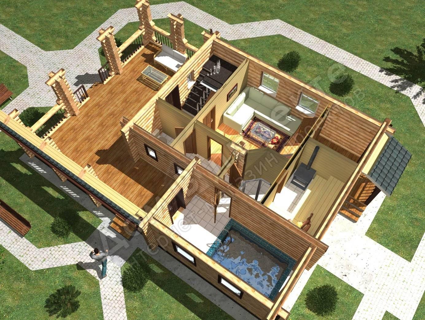 Дом с баней под одной крышей: проекты, фото и планировка