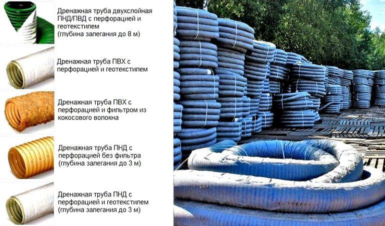 Дренажные трубы (61 фото): гофрированные и перфорированные трубки для отвода грунтовых вод и дренажа