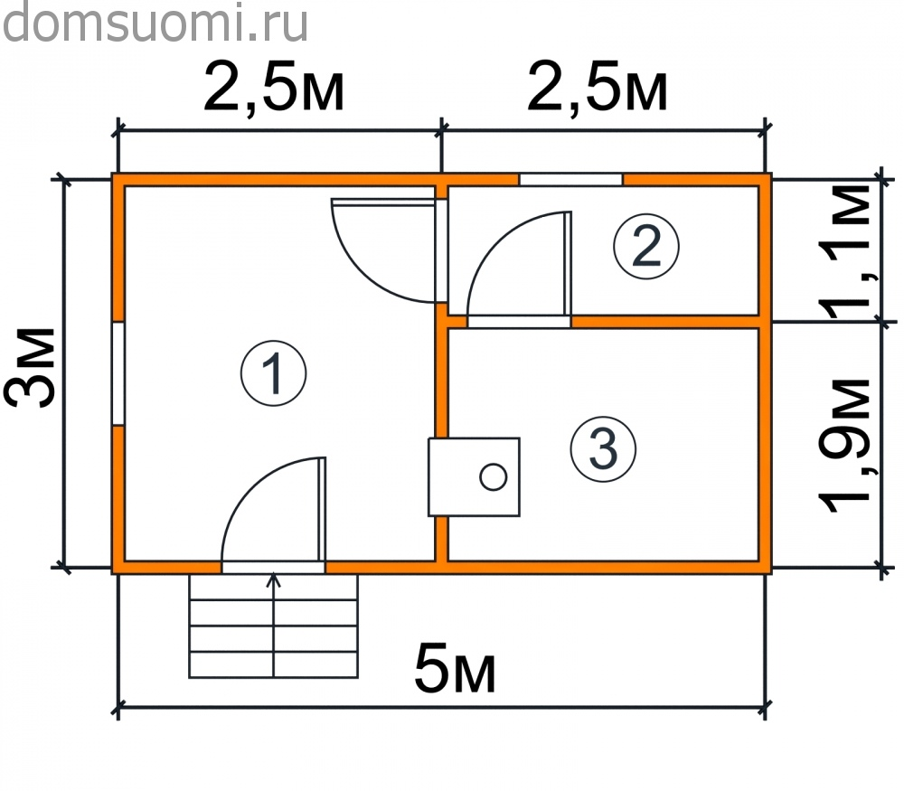 Разработка проекта бани 5 на 3 метра