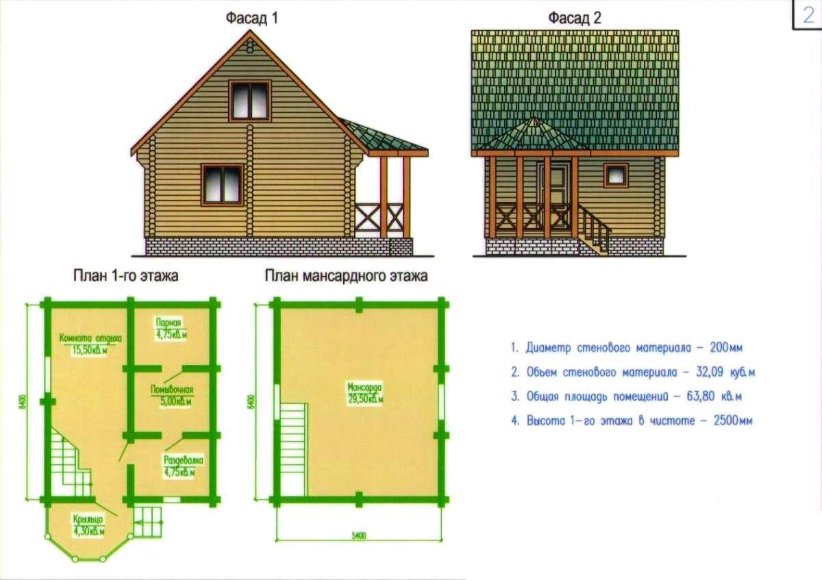 Проекты двухэтажных бань из бруса и бревна: чертежи, фото, планировка