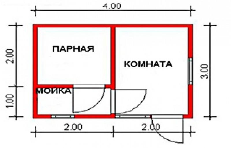 Чертежи проекта каркасной бани 6 на 4 метра + фото