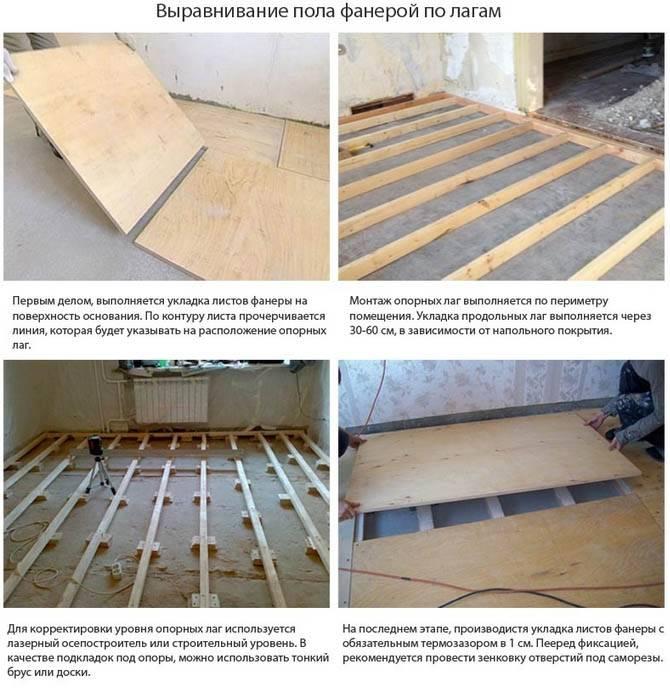 Выравнивание деревянного пола под фанеру: пошаговая технология выполнения работ