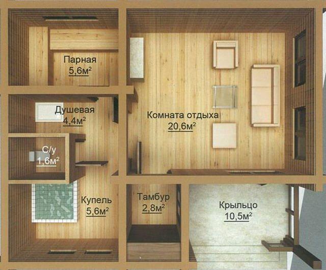 Планировки бань с комнатой отдыха: план и интерьер вариантов с верандой и бассейном, схема сооружения с туалетом