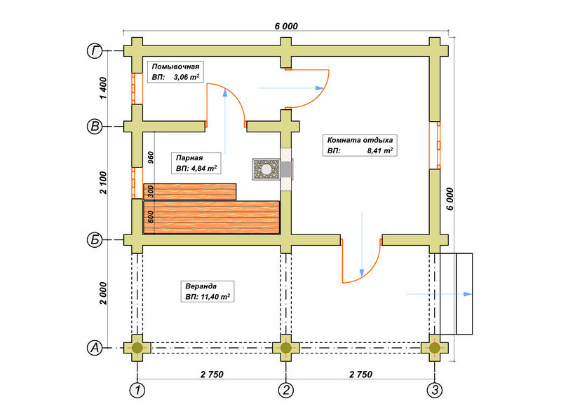 4 варианта проектов бань из бревна 6х6 [+5 фото]