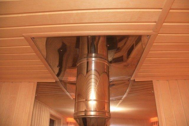 Проход трубы через потолок бани: потолочная разделка своими ркуами