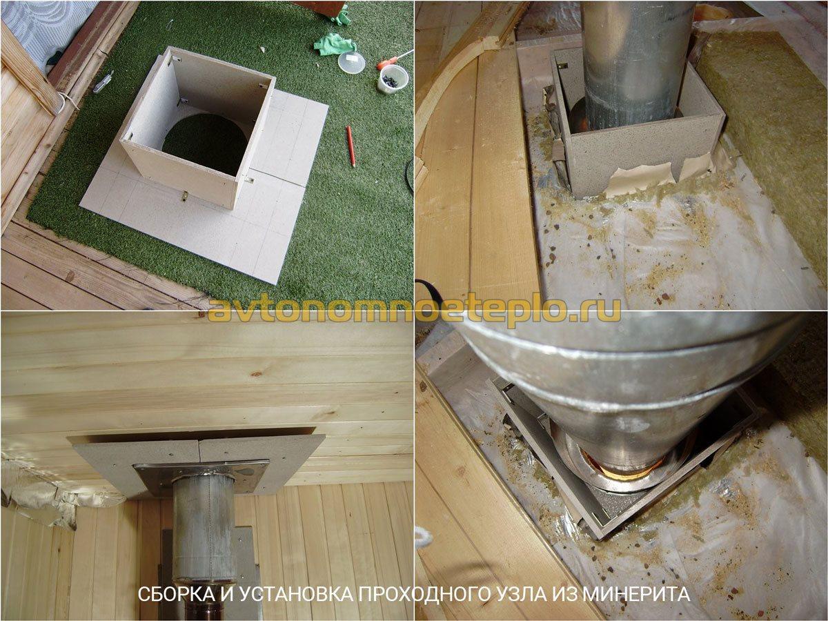 Как сделать дымоход в бане через потолок своими руками