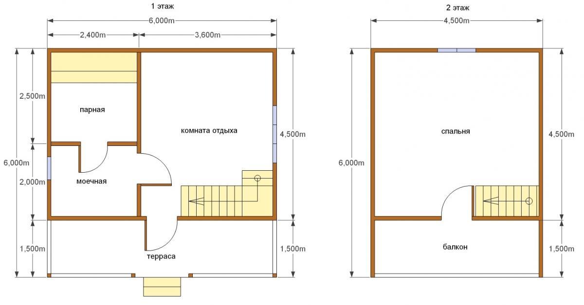 Баня площадью 6х6 м с мансардой: планировка дома из бруса с террасой и туалетом, каркасный терем из бревна с балконом