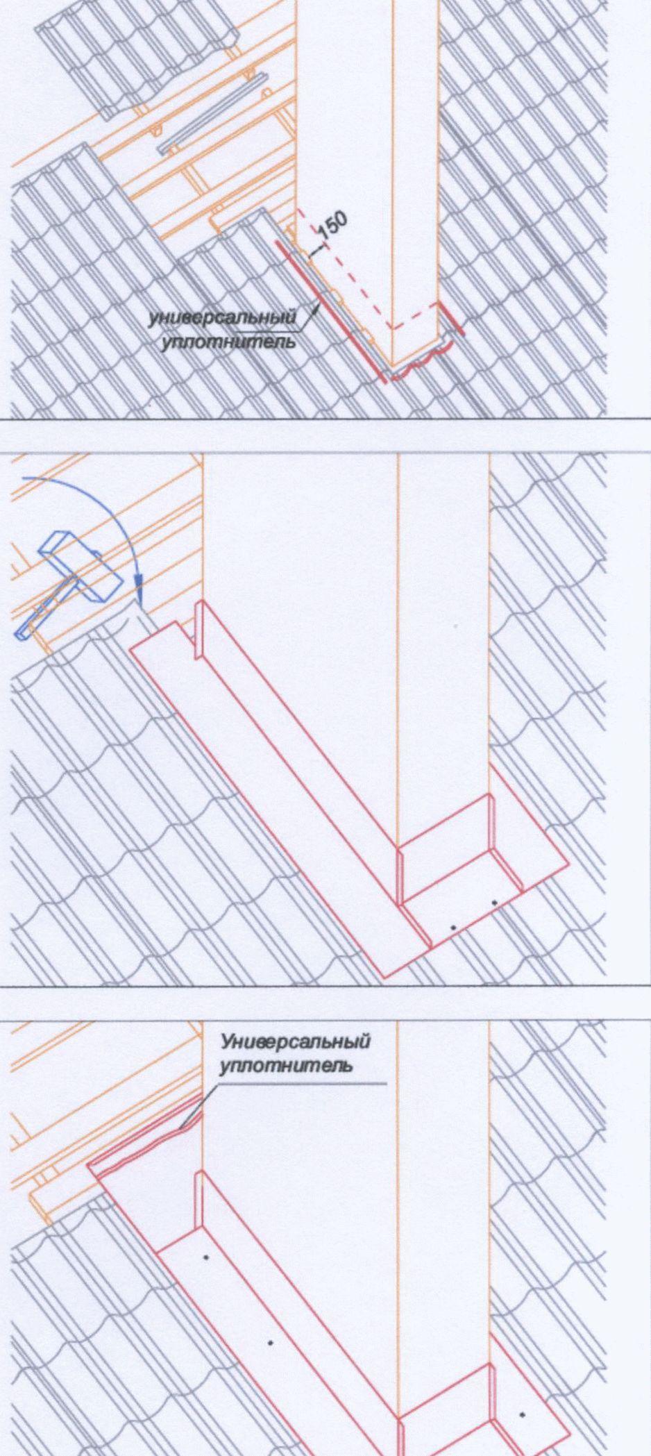 Устройство примыкания металлочерепицы к трубе. обход трубы металлочерепицей