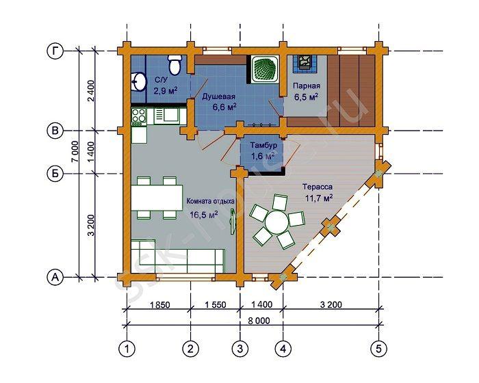 Принципы строительства и отделки угловой бани