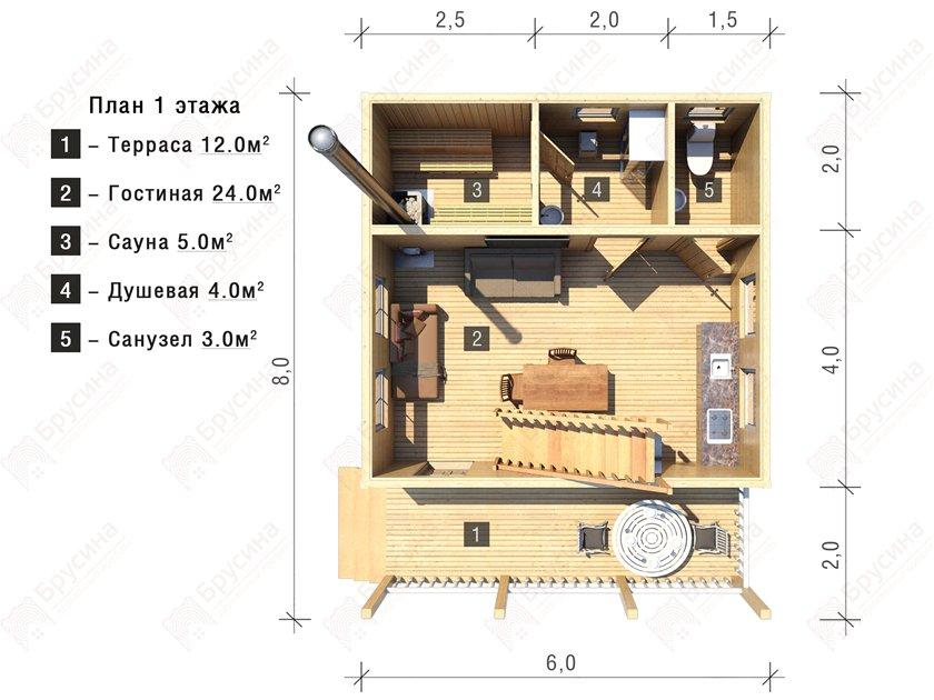 Двухэтажная баня из бруса 6 х 6