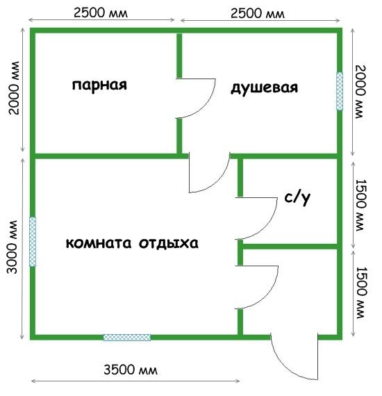 Проект бани 5 на 5 – планировка и ключевые особенности