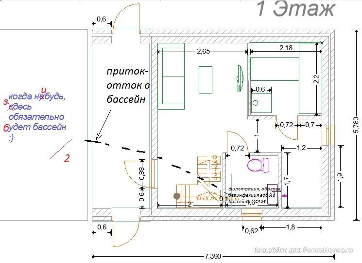 Проекты бань из пеноблоков - примеры чертежей