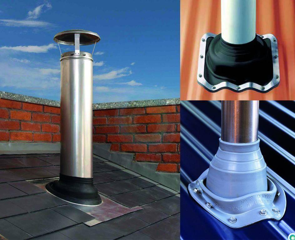 Как установить и вывести трубу дымохода через крышу, на какую высоту