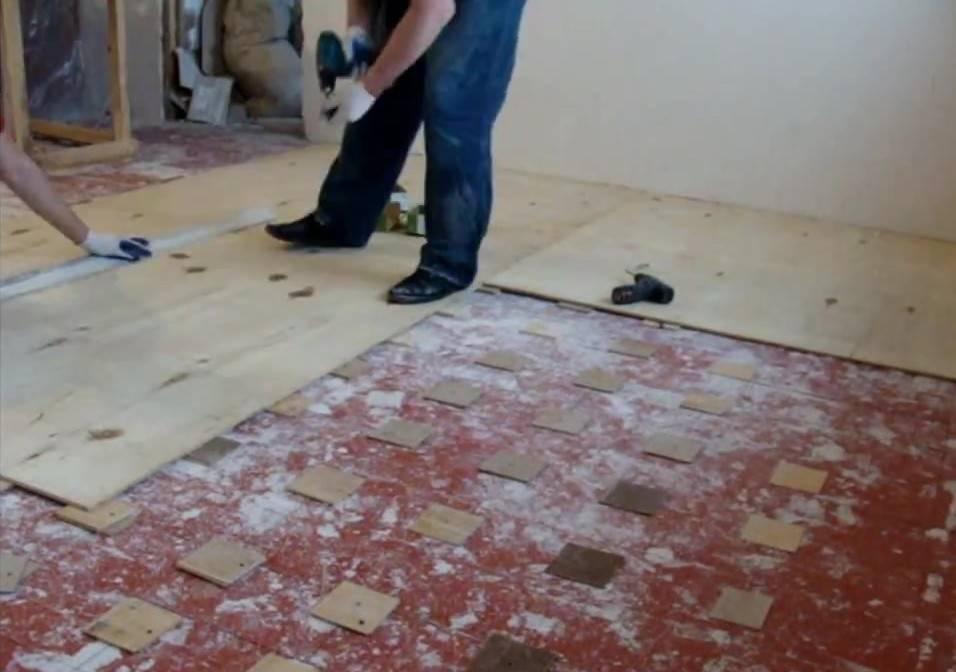 Выравнивание деревянного пола с помощью фанеры