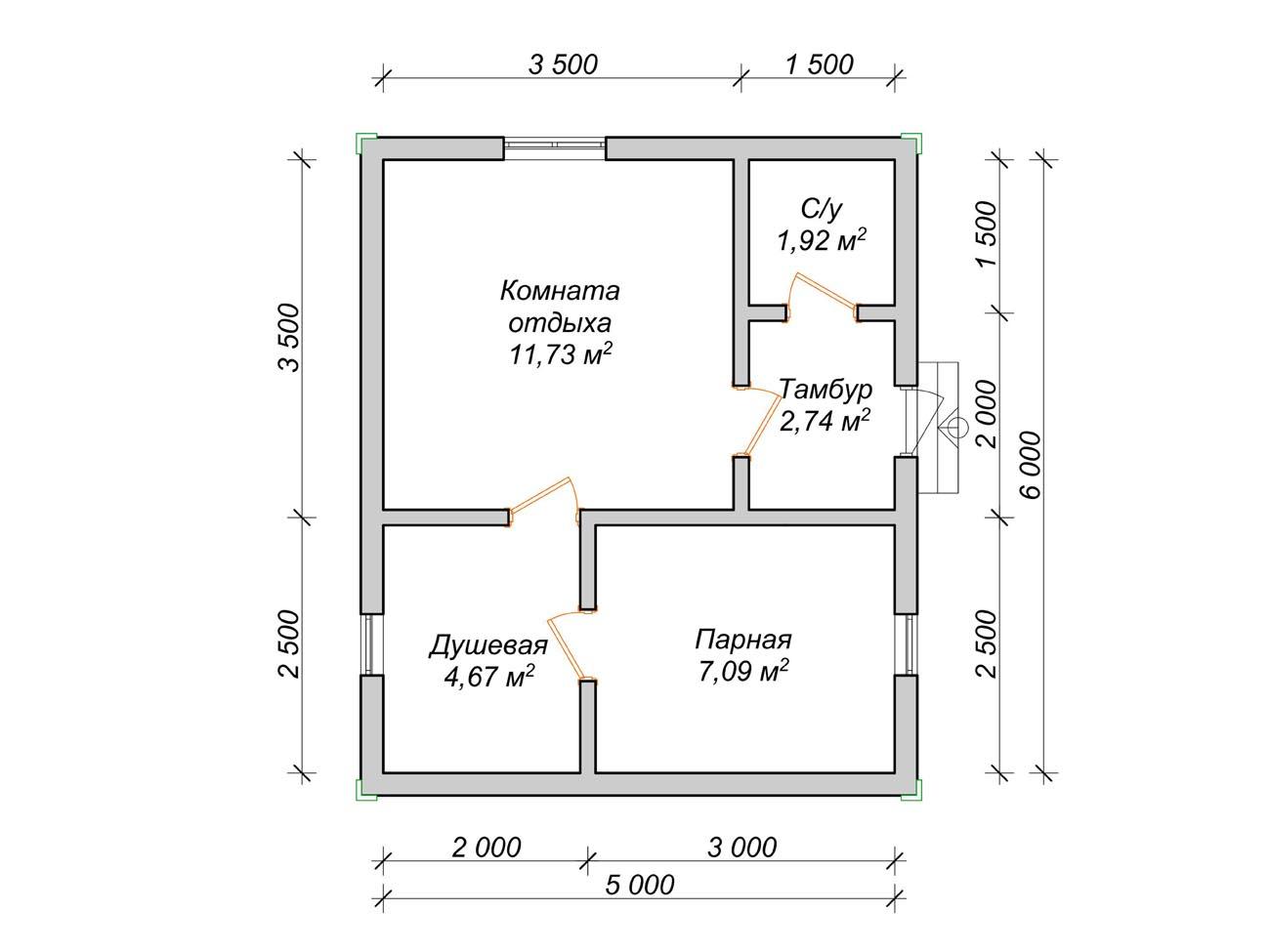 Проекты бани размером 5х7 – готовые решения для компактной постройки