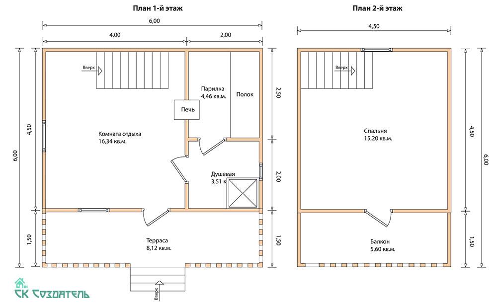 Проекты бань 6 на 8: особенности строительства бани 6х8 из бруса, планировки и фото | построить баню ру