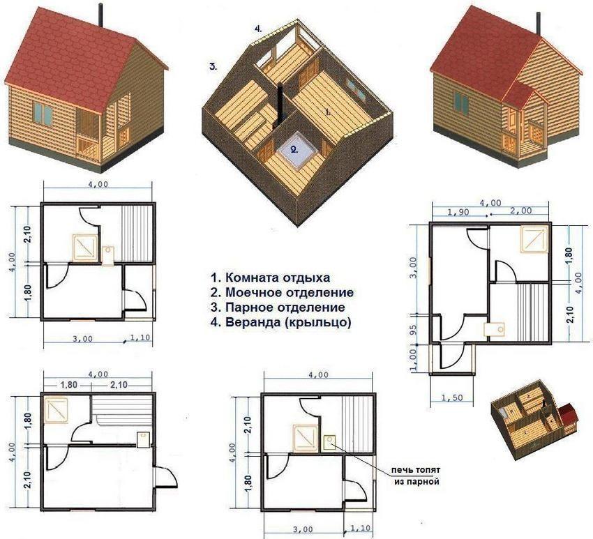 Как построить баню – описание технологии строительства, схемы, чертежи и 125 фото