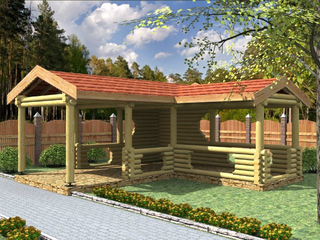 Баня с беседкой под одной крышей – проекты и строительство своими руками! | housedb.ru