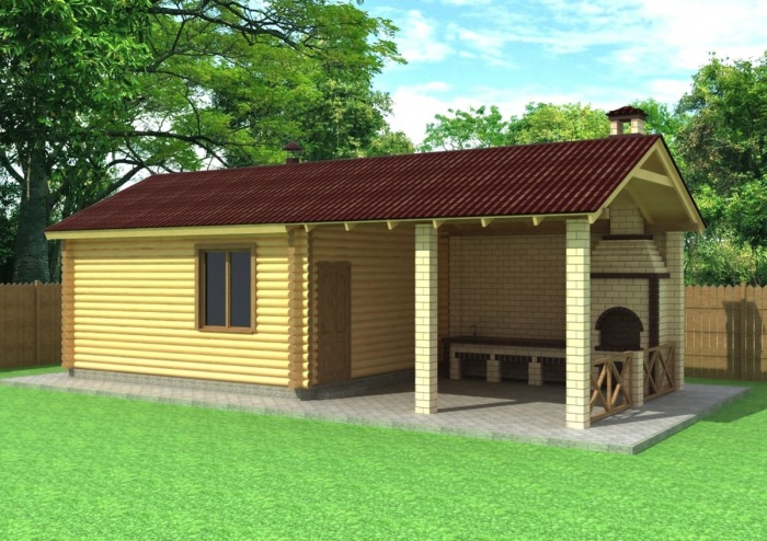 Проект бани с беседкой под одной крышей (106 фото): пристроенная конструкция с мангалом и барбекю, пристройка в виде беседки под общей крышей
