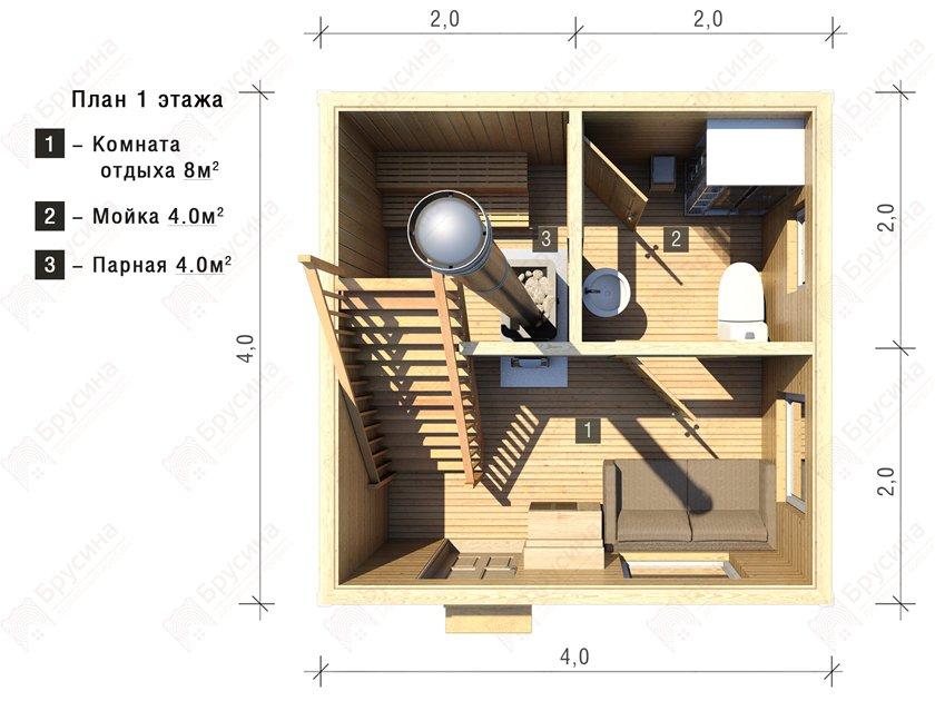 Бани 3 на 4: фото, проекты, интерьер