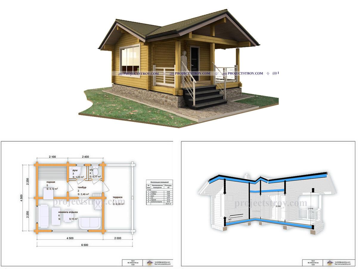 Варианты проектов банных комплексов с летней кухней из дерева