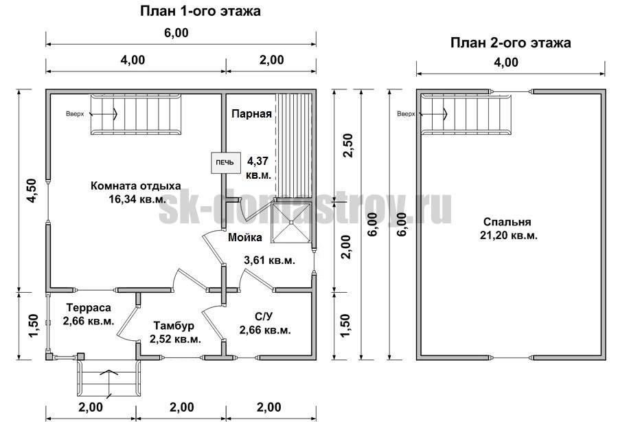 Двухэтажная баня из бруса 6 х 6 своими руками - описание этапов строительства!