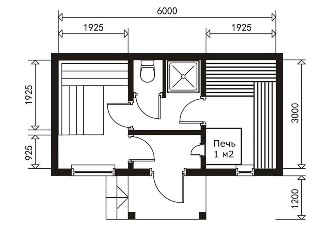 Проект бани размером 6х6 — планировка, примеры готовых строений
